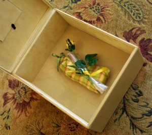 bag with rose presented in box